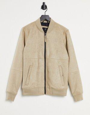 Светло-коричневая куртка-бомбер из легкой искусственной замши -Коричневый цвет Hollister