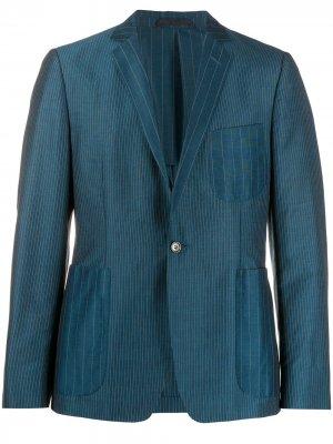 Полосатый пиджак 1990-х годов Romeo Gigli Pre-Owned. Цвет: синий