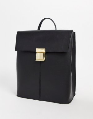 Кожаный рюкзак с замком -Черный ASOS DESIGN