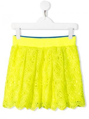 Кружевная юбка Alberta Ferretti Kids. Цвет: желтый
