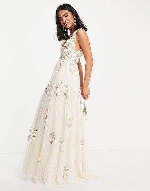 Свадебное платье макси цвета слоновой кости с цветочной вышивкой Petunia-Белый Needle & Thread