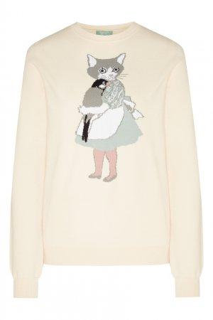 Кремовый пуловер с узором Akhmadullina DREAMS. Цвет: белый