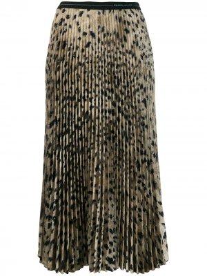 Плиссированная юбка с леопардовым принтом Prada