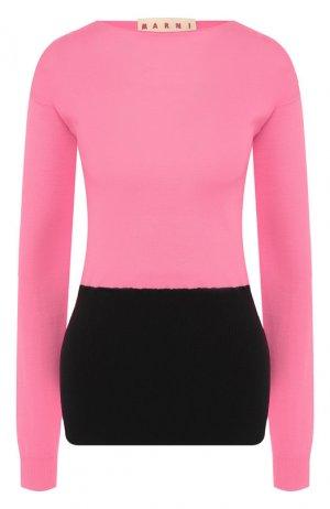 Шерстяной пуловер Marni. Цвет: розовый