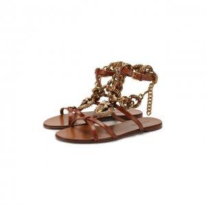 Кожаные сандалии Devotion Dolce & Gabbana. Цвет: коричневый