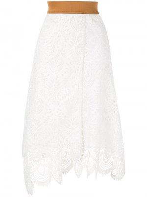 Кружевная юбка миди Antonio Marras. Цвет: белый