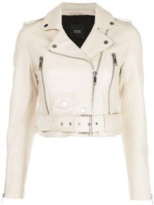 Укороченная байкерская куртка Mya Lth Jkt. Цвет: белый