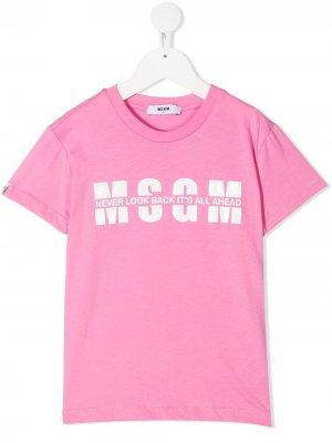 Футболка с логотипом Msgm Kids. Цвет: розовый