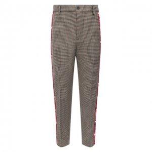 Шерстяные брюки Dsquared2. Цвет: разноцветный