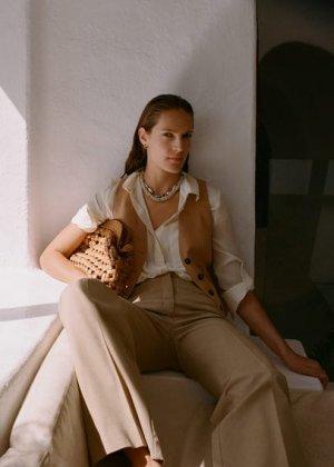 Плетеный клатч - Sandra Mango. Цвет: коричневый средний