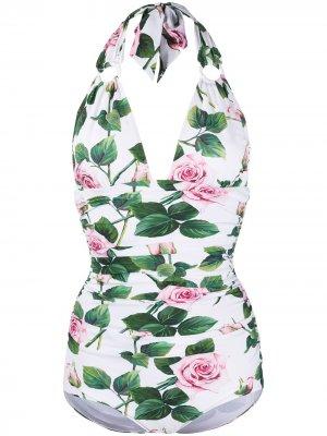 Купальник с принтом Tropical Rose Dolce & Gabbana. Цвет: белый