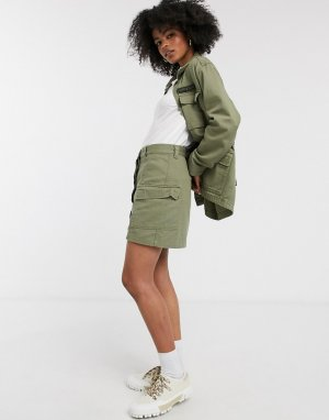 Юбка в стиле милитари с карманами -Зеленый цвет Dr Denim