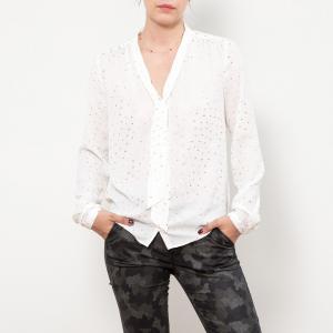 Блуза из струящейся ткани с v-образным вырезом, длинными рукавами и галстуком-бантом LE TEMPS DES CERISES. Цвет: экрю/золотистый