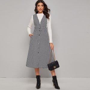 Твидовое платье-сарафан с принтом хаундстута и пуговицами SHEIN. Цвет: чёрнобелые