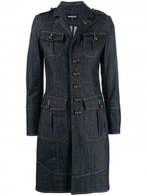 Длинная джинсовая куртка на пуговицах Dsquared2. Цвет: синий