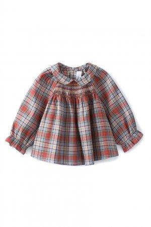 Клетчатая блузка Pompon Bonpoint. Цвет: голубой