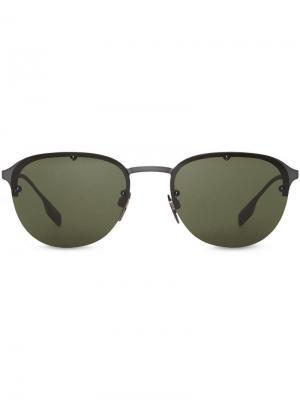 Солнцезащитные очки в круглой оправе Burberry Eyewear. Цвет: зеленый