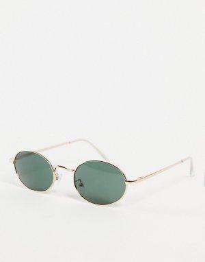 Круглые солнцезащитные очки в золотистой оправе стиле унисекс Miners-Золотистый AJ Morgan
