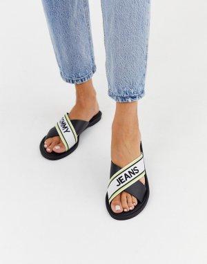 Черные сандалии с перекрестными ремешками Tommy Jeans-Черный Hilfiger