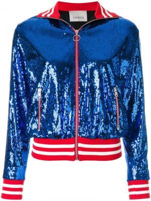 Куртка-бомбер с пайетками Laneus. Цвет: синий
