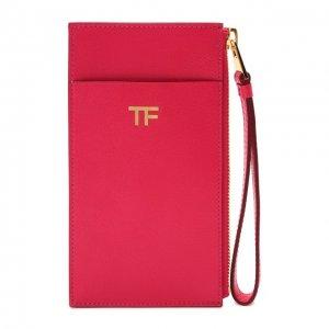 Кожаный футляр для кредитных карт Tom Ford. Цвет: розовый