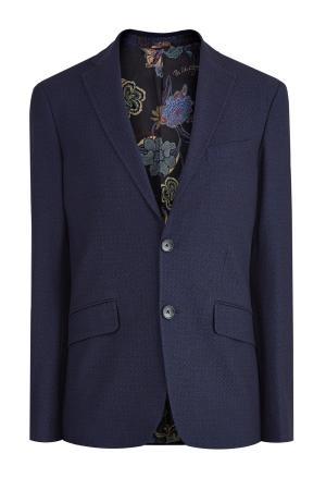 Пиджак из плотного хлопкового жаккарда с ромбическим узором ETRO. Цвет: синий