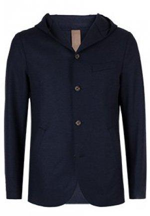Однобортный пиджак с капюшоном ELEVENTY. Цвет: синий