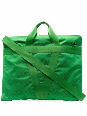 Жаккардовый портфель с круговой молнией Bottega Veneta. Цвет: зеленый