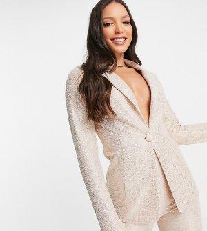 Золотистый блестящий пиджак из джерси с блестками ASOS DESIGN Tall