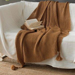 Одеяло с помпоном SHEIN. Цвет: кофейный