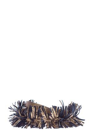 Ремень с золотистым напылением и кожаной бахромой BRUNELLO CUCINELLI. Цвет: золотистый