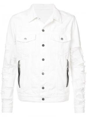 Рваная джинсовая куртка Balmain. Цвет: белый
