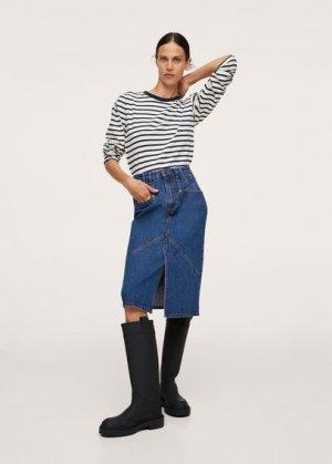 Джинсовая юбка с разрезом - Tubo-i Mango. Цвет: темно-синий