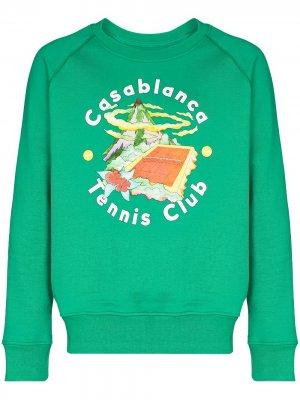 Толстовка с принтом Tennis Club Island Casablanca. Цвет: зеленый