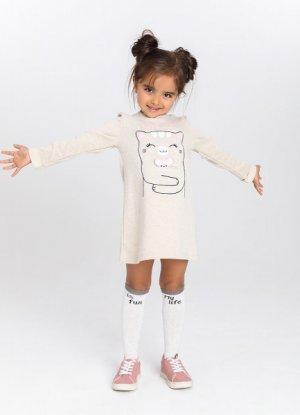 Трикотажное платье для девочек O`Stin. Цвет: кремовый