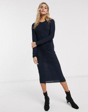 Облегающее платье миди с длинными рукавами и присборенной отделкой -Темно-синий JDY