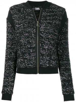 Бомбер из ткани букле Karl Lagerfeld. Цвет: черный
