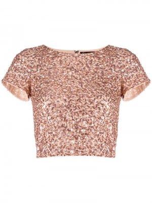 Укороченная футболка с пайетками Alice+Olivia. Цвет: розовый