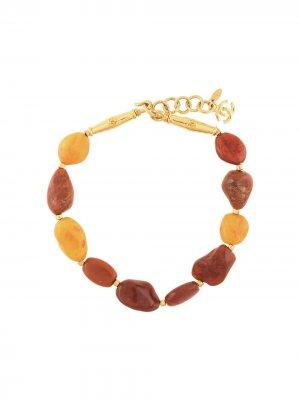 Ожерелье с логотипом СС Chanel Pre-Owned. Цвет: оранжевый