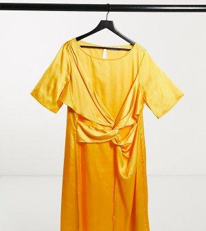 Желтое платье миди с перекрученным элементом спереди Plus-Желтый Elvi