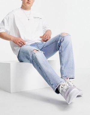 Джинсы классического кроя винтажного светлого выбеленного оттенка с рваной отделкой -Голубой ASOS DESIGN