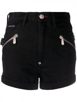 Джинсовые шорты с молниями Philipp Plein. Цвет: черный