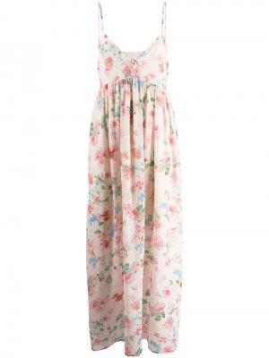 Платье с цветочным принтом ANIYE BY. Цвет: бежевый