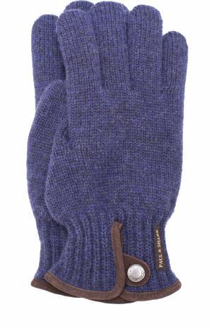Шерстяные перчатки с замшевой отделкой Paul&Shark. Цвет: синий