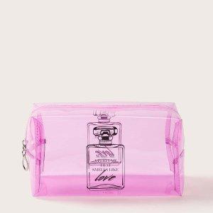 Прозрачная косметическая сумка с узором духи SHEIN. Цвет: розовые
