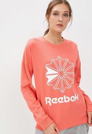 Свитшот Reebok Classics CL FT BIG LOGO CREW. Цвет: коралловый