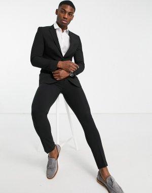 Черный приталенный пиджак из переработанных материалов -Черный цвет Burton Menswear
