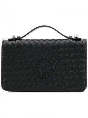 Клатч плетеного дизайна Baldinini. Цвет: черный
