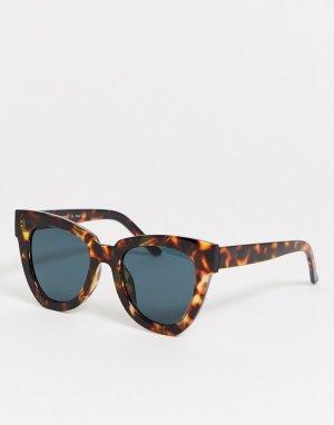 Большие солнцезащитные очки кошачий глаз в черепаховой оправе -Коричневый AJ Morgan