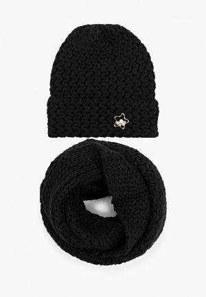 Комплект TrendyAngel шапка и снуд. Цвет: черный